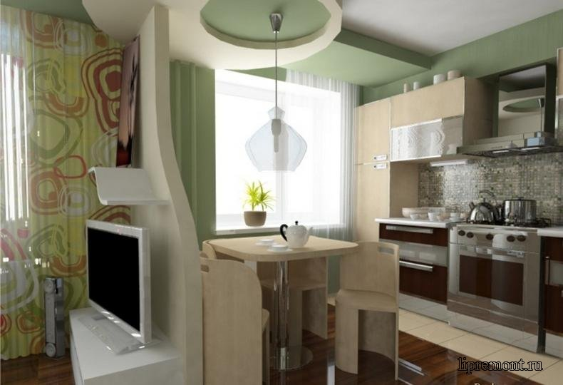 совмещение гостиной и кухни фото в хрущевке